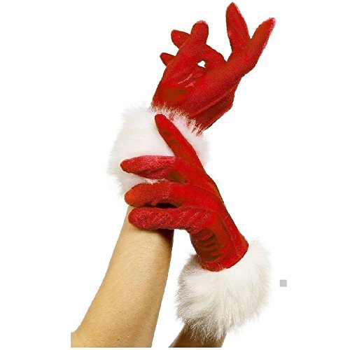 Miss Mad Hatter Costume (Short Red Santa Gloves Miss Ms Mrs Claus Fancy Dress Christmas Costume Accessory)