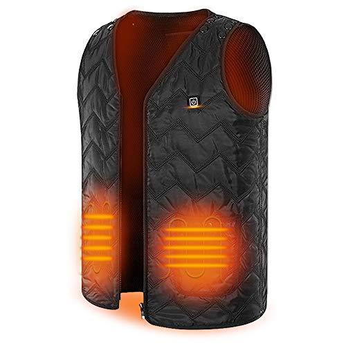Heated Vest Washable Four Sizes Adjustment USB Charging Unisex Heated Clothing (Battery Not Included) Black … …