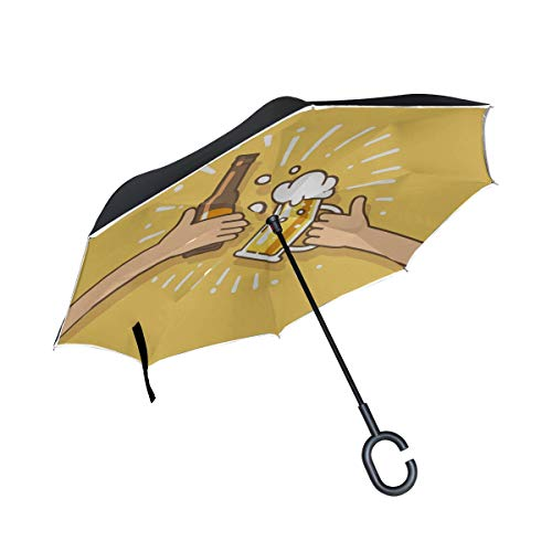 Beer Drink Agreed Deal Cheers Double Layer Folding Anti Uv Protection Waterproof Windproof Straight Cars Golf Reverse Inverted Umbrella Stand With C-shaped Handle For Car Rain Outdoor