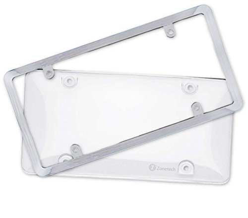 Zone Tech Clear License Plate Shield Combo - Premium Quality License Plate Clear Bubble Shield and Chrome Frame - Delta Frame License Plate