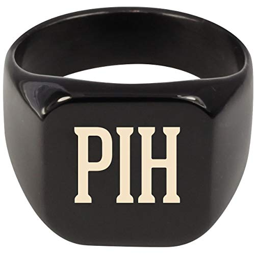 Molandra Products PIH - Adult Initials Stainless Steel Ring, Black, 8