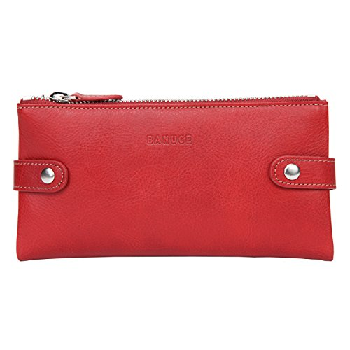 Banuce Soft Genuine Leather Bifold Wallet for Women Cell Phone Slim Clutch Purse Zip Wallet Card Holder
