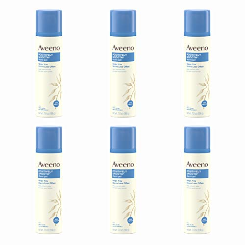 Aveeno Positively Smooth Moisturizing Shave Gel with Soy, Aloe, and Vitamin E to help Prevent Nicks, Cuts and Razor Bumps, Lightly Fragranced, 7 oz (Pack of 6)
