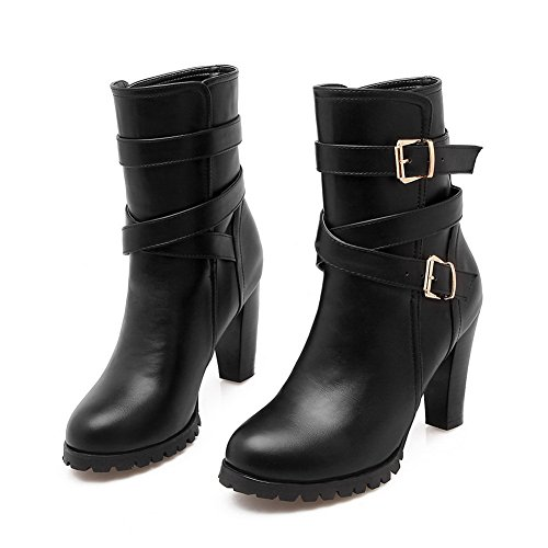 Black Boots Heels Chunky Leather Platform Imitated Ladies Buckle AdeeSu qzE07w80