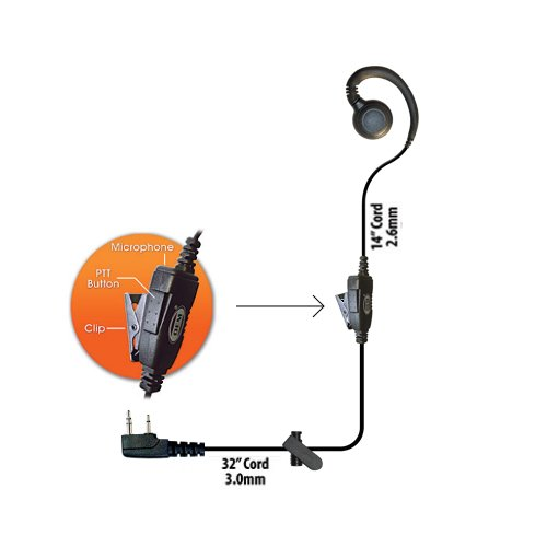 (Klein Curl-K1 1-Wire Earpiece Headset for Kenwood 2-Pin Radios TK-2312 TK-3400 NexEdge Pro Talk XLS Radios (See Description for Complete Two Way Compatibility List) 3 Year Warranty)