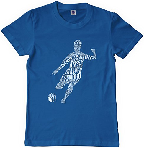 Threadrock Big Boys' Soccer Player Typography Youth T-Shirt XL Royal ()
