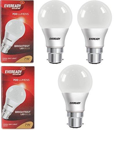 Eveready Base B22D 7-Watt LED Bulb (3 Piece Offer Pack) LED Bulbs at amazon