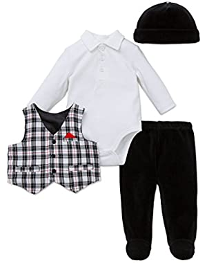 Baby Boys'' Plaid 4 Piece Vest Set