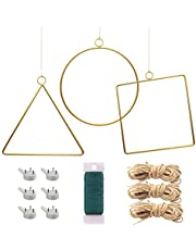 Woohome 3 Pack Metal Geometric Hoop Wreath Frame Round Triangle Square with Hemp Rope, Nails, Wire for DIY Flower Arrangement, Wedding Ceremony Backdrop Home Decor, Baby Shower Backdrop Decor