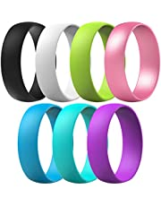 ThunderFit Silicone Wedding Ring for Men & Women - 4 Rings / 1 Ring Rubber Engagement Bands 6mm Wide - 1.65mm Thick