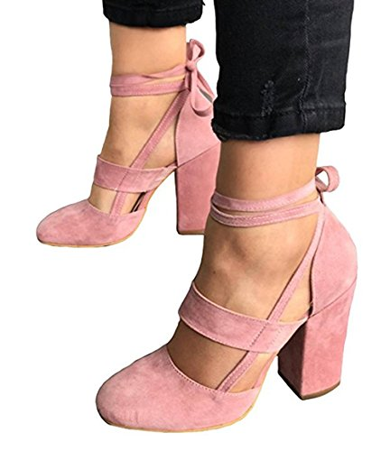 Huiyuzhi Womens Chunky Ankle Strappy Sandal Pumps Lace Up High Heels (8 B(M) US, Pink)