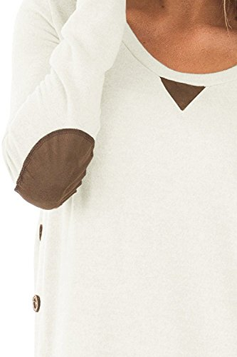 DEARCASE Women's Round Neck Tunic Soft Tops with Faux Suede and Button Blouses Tops White Small by DEARCASE (Image #4)