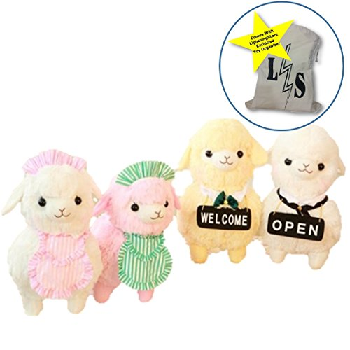 LightningStore Cute Colorful White Pink Yellow Maid Open Welcome Sign Llama Alpaca Sheep Doll Realistic Looking Stuffed Animal Plush Toys Plushie Children's Gifts Animals + Toy Organizer Bag Bundle