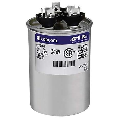 Amana PTC123A35AA 25//5 MFD 370 Volt Dual Round Run Capacitor for Goodman