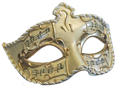 Medici Eye Music Notes Mardi Gras Mask Gold & Ivory Antique Halloween Prom Masquerade