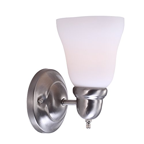 7Pandas 00533514, 1 Light Wall Light Sconce Fixutre, Indoor Wall Mount Light with White Frosted Glass, Satin Nickel