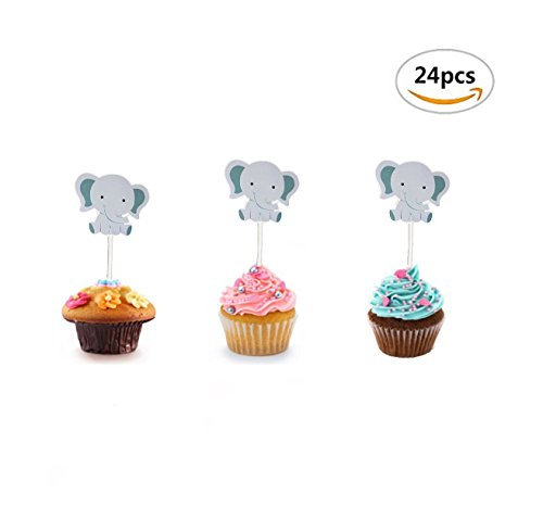 Maydolbone 24Pack Elephant Baby Cupcake Toppers - for jungle themed birthday or baby shower Food Picks Decor And Cupcake Party Pick