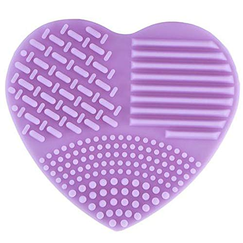 Colorful Heart Shape Clean Make up Brushes Wash Brush Silica Glove Scrubber Board Cosmetic Cleaning Tools for makeup brushes,purple ()