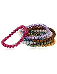 Honora Set of 10 Multi-color Freshwater Cultured Pearl Stretch Bracelets, 7.5""