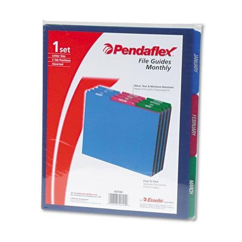Pendaflex 40144 Top Tab File Guides, Monthly/Jan-Dec, 1/3 Tab, Polypropylene, Letter, 12/Set
