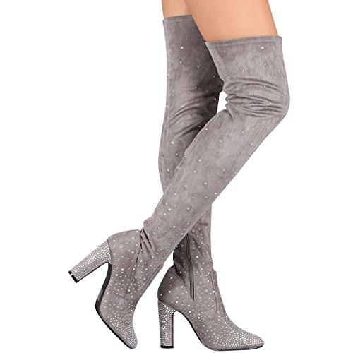 CAPE ROBBIN Womens Almond Toe Jeweled Rhinestone Embellished Over The Knee OTK Thigh High Heel Boot Gray ZU4pardS