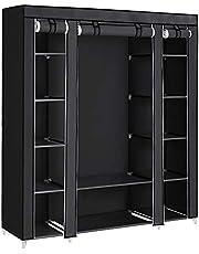 SONGMICS 59 Inch Closet Organizer, Storage Organizer Non-Woven Fabric Wardrobe, Black ULSF03H