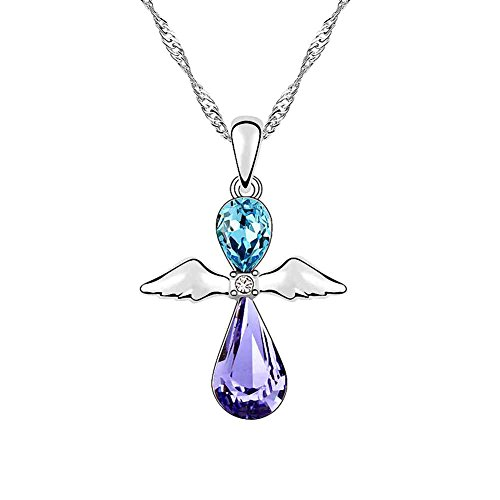 rystal Diamond Accent Teardrop Water drop Guardian Angel Wings Pendant Chain Necklace for Women, with a Gift Box, Made with SWAROVSKI Crystal, Sea Blue (Diamond Teardrop Pendant Chain)