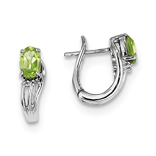 Rhodium Diamond Hinged Earrings (925 Sterling Silver Rhodium Plated Diamond Peridot Hinged Earrings)