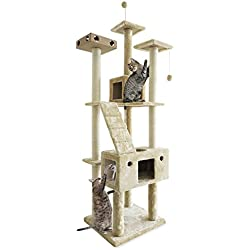 FurHaven Pet Cat Tree | Tiger Tough Cat Tree House Furniture for Cats & Kittens, Double Decker Playground, Cream