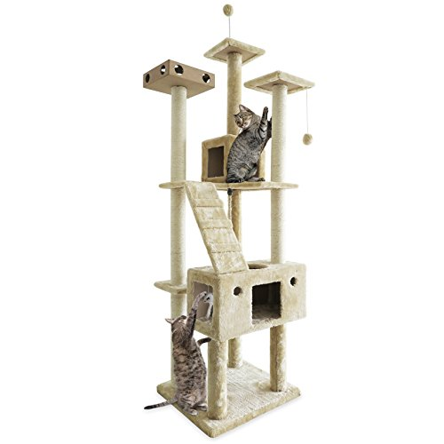 FurHaven Pet Cat Tree | Tiger Tough Cat Tree House Furniture for Cats & Kittens, Double Decker Playground, Cream by Furhaven Pet