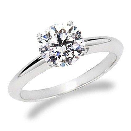 1/5 Carat Round Cut Diamond Solitaire Engagement Ring 14K White Gold 4 Prong (J-K, I1-I2, 0.20 c.t.w) Very Good Cut (7) ()