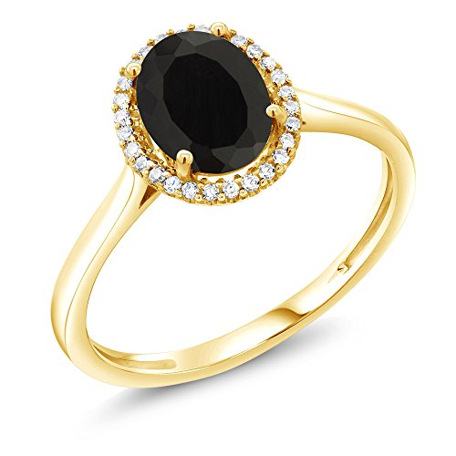 10K Yellow Gold Black Onyx and Diamond Women's Ring (1.25 Ctw Oval Available in size 5,6,7,8,9)