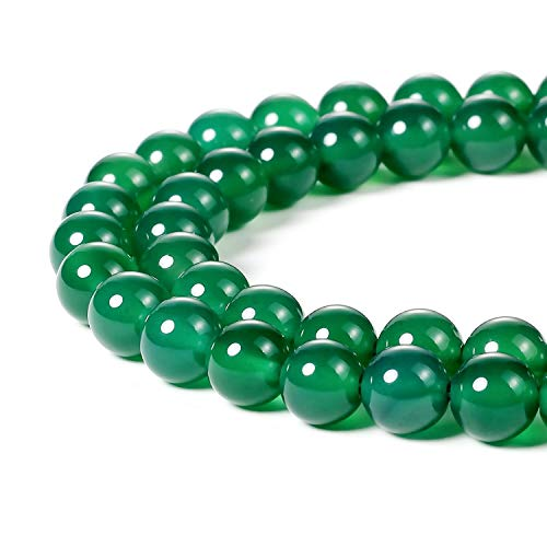 Ring Agate Round (8mm Natural Stone Beads Green Agate Round Loose Beads 48PCS Per Bag for Jewelry Making DIY Bracelet Necklace Earrings 1 Strand 15