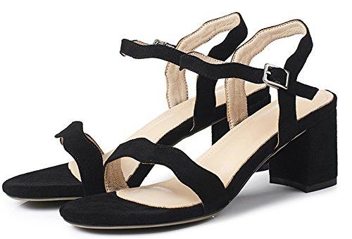 Femme Noir Mode Unie Aisun Sandales 6cm Boucle Fine Chunky Couleur Lady dFwnAqUv