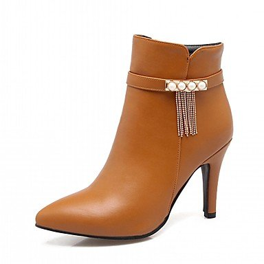 RTRY Zapatos De Mujer De Piel Sintética Pu Novedad Moda Otoño Invierno Confort Botas Botas Stiletto Talón Señaló Toe Botines/Botines De Imitación Perla US10.5 / EU42 / UK8.5 / CN43