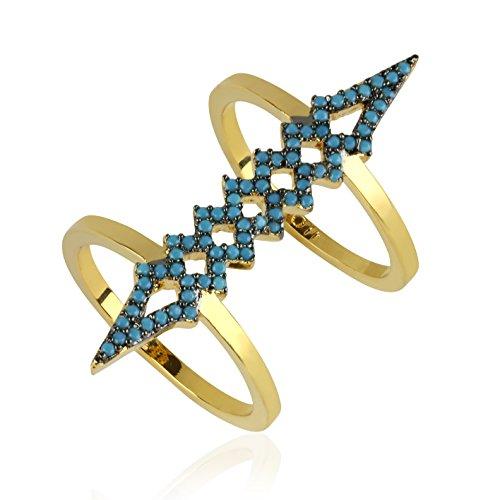 nOir Jewelry Herron Ring Turq/Gold Size ()