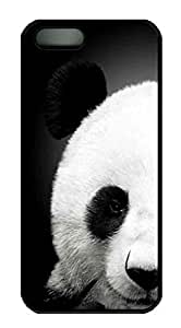 Protective PC Case Skin for iphone 5 Black Fashion Plastic Case Back Cover Shell for iphone 5S with Lovely Panada