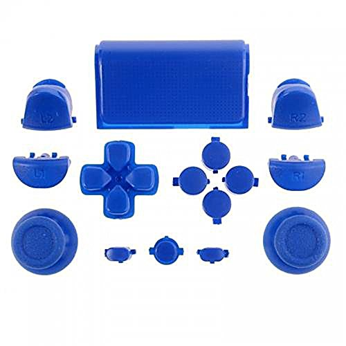 ElementDigital 15Pcs PS4 Replacement Shell Full Buttons, Thumbsticks Thumb Grip + D-pad For Sony Playstation 4 Controller (Blue)