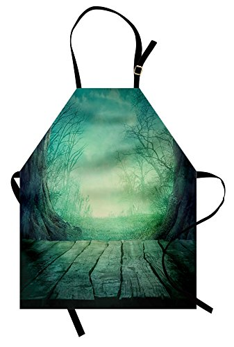 Lunarable Gothic Apron, Spooky Scary Dark Fog Forest with Dead Trees and Wooden Table Halloween Horror Theme Print, Unisex Kitchen Bib Apron with Adjustable Neck for Cooking Baking Gardening, Blue