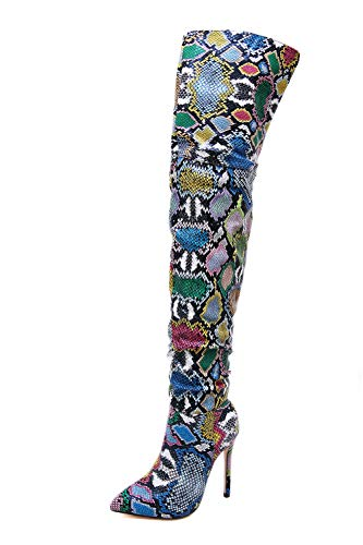 Stupmary Woman Over The Knee High Boots Pointed Toe Snake Print Thigh High Heeled Bootie