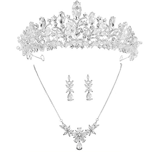 (S SNUOY Bridal Tiara Set Silver Rhinestone Necklace and Earring Jewelry Set for Prom Party)