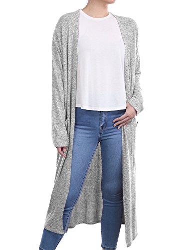 ALL FOR YOU Women's Side Split and Front Pockets Open Front Long Cardigan Brushed Heather Grey XXX-Large