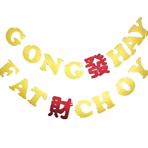BESTOYARD Gong Hey Fat Choy Banner Chinese Happy New Year Bunting Party Decoration