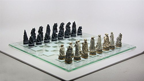 Ky & Co YesKela Vampire Dracula VS Lycan Wolf Chess Pieces and Glass Board Set Figurine Decor ()