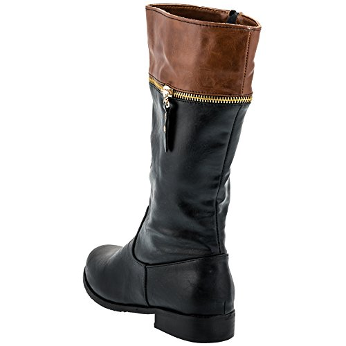 Jili Mädchen Boots Stiefel mit Reissverschluss in Schwarz