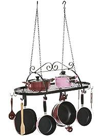 designer black scrollwork metal ceiling mounted hanging kitchen utensils pots pans holder hanger rack