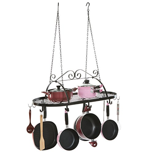 - Designer Black Scrollwork Metal Ceiling Mounted Hanging Kitchen Utensils, Pots, Pans Holder Hanger Rack