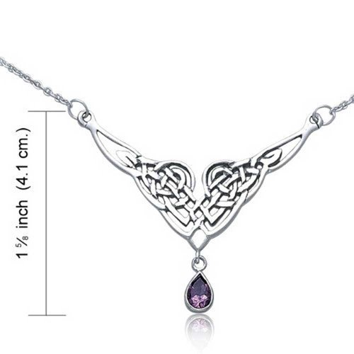 Amethyst Teardrop Irish Celtic Love Knot Triquetra Trinity Statement V Collar Necklace For Women Sterling Silver 18 Inch