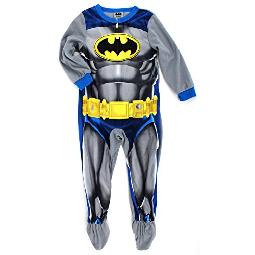 Batman Boys Fleece Blanket Sleeper Pajamas Union Suit (4, Grey Batman Costume) (Mens Crusader Knight Costume)