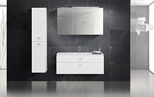 Design Badmöbel Set mit Waschbecken und Spiegelschrank 120 cm